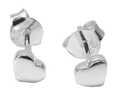 925 Sterling Silver Black Heart Stud Earrings 4mm