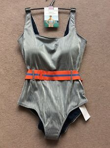 BNWT-Size-22-M-amp-S-Navy-Mix-Striped-Swimsuit-With-Secret-Slimming