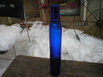 Tiolene Motor Oil Bottle Cobalt Blue Glass Vintage Replica Petroleum Storage Jar
