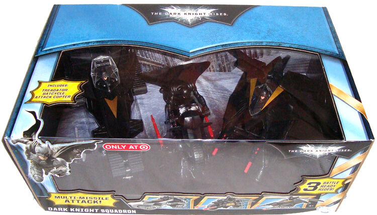 Batman Dark Knight Rises Dark Knight Esron 3 Véhicule SET Comme neuf IN BOX Target Exclusive
