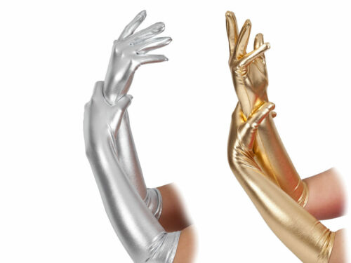 Silver Gold Metallic Gloves Ladies Christmas Fancy Dress Elbow Length Gloves