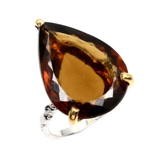 Handmade-Pear-AAA-Cognac-Quartz-15-2ct-Natural-925-Sterling-Silver-Ring-Size-6-5