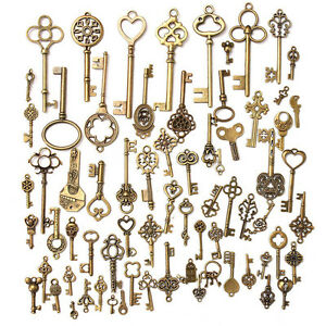 Setof-70-Antique-Vintage-Old-LookBronze-Skeleton-Keys-Fancy-Heart-Bow-PendantM-amp-C
