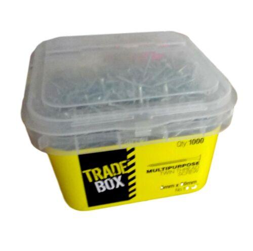 Dia 5mm x 50mm-NEW L 1000 PK TRADE BOX TWIN-THREAD STEEL SCREWS  ZINC PLATED-