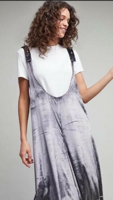 d1eb3bb99a83 NWT Anthropologie Maeve Velvet Overalls Jumpsuit In Silver Size Large