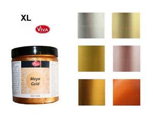 MAYA-GOLD-Farbe-250-ml-Metallic-Effektfarbe-VIVA-DECOR-Maja-XL-Groesse-SONDERPREIS