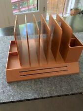 Max Klein Vintage Plastic Brown Desk Table Letter Office Pen Organizer Mcm