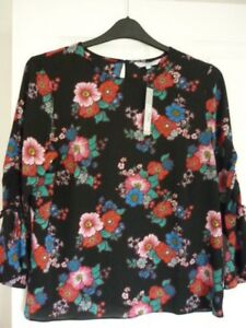 RED-HERRING-BLACK-MULTI-FLORAL-DRAPEY-BLOUSE-TOP-UK-14-EUR-40-42-US-10-BNWT