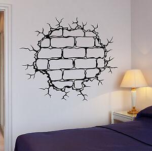 Wall Decal Brick Wall Crack Hole Pattern Decor Destruction Vinyl - Vinyl wall decals brick