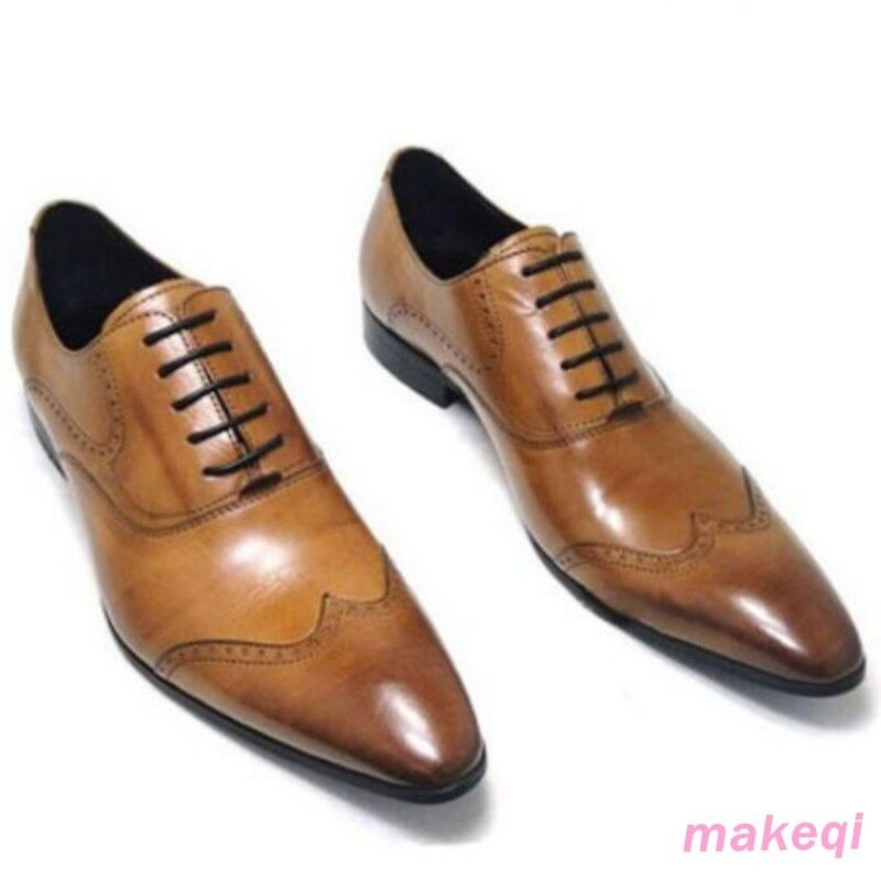 Men Genuine Oxford Leather lace up Slip On Formal dress shoes New Boots US
