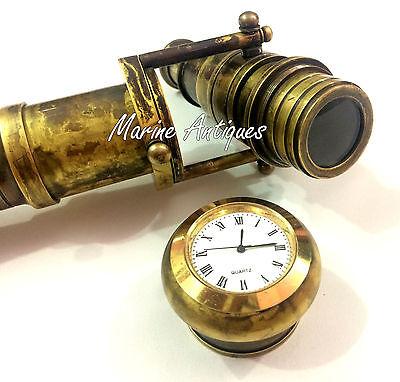 Brass Telescope Clock Handle Walking Stick Antique Brass Wooden Cane Christmas