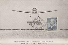AVIATION PRIMER AVION ARGENTINO PROTOTIPO IMPA RR 11 LV-NAQ DIA DE EMISION 1942