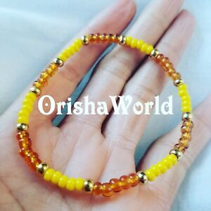Stretch-Elastic-Pulsera-Oshun-Ochun-Santeria-bracelet-Ilde-Ide-Idde-elastico-24k