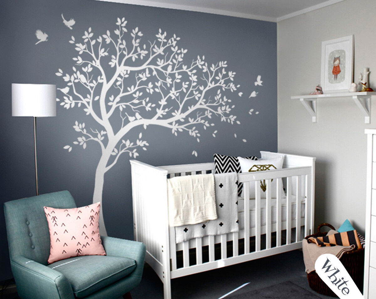 Blanc Arbre Mural Grand Murale Décoration Chambre Enfant Mur Arbre kw032r