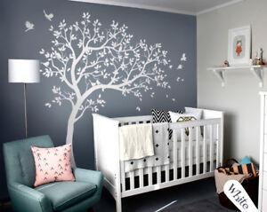 Weiss Baum Wandtattoo Gross Wandaufkleber Dekoration Kinderzimmer Wand