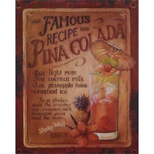 9973795 Advertisement Tin Sign Cocktail Pina Colada Vintage Nostalgia 20x25cm