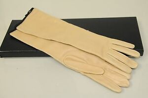 NEW CHANEL Long Gloves Light Beige Nude Leather Black Trim ...