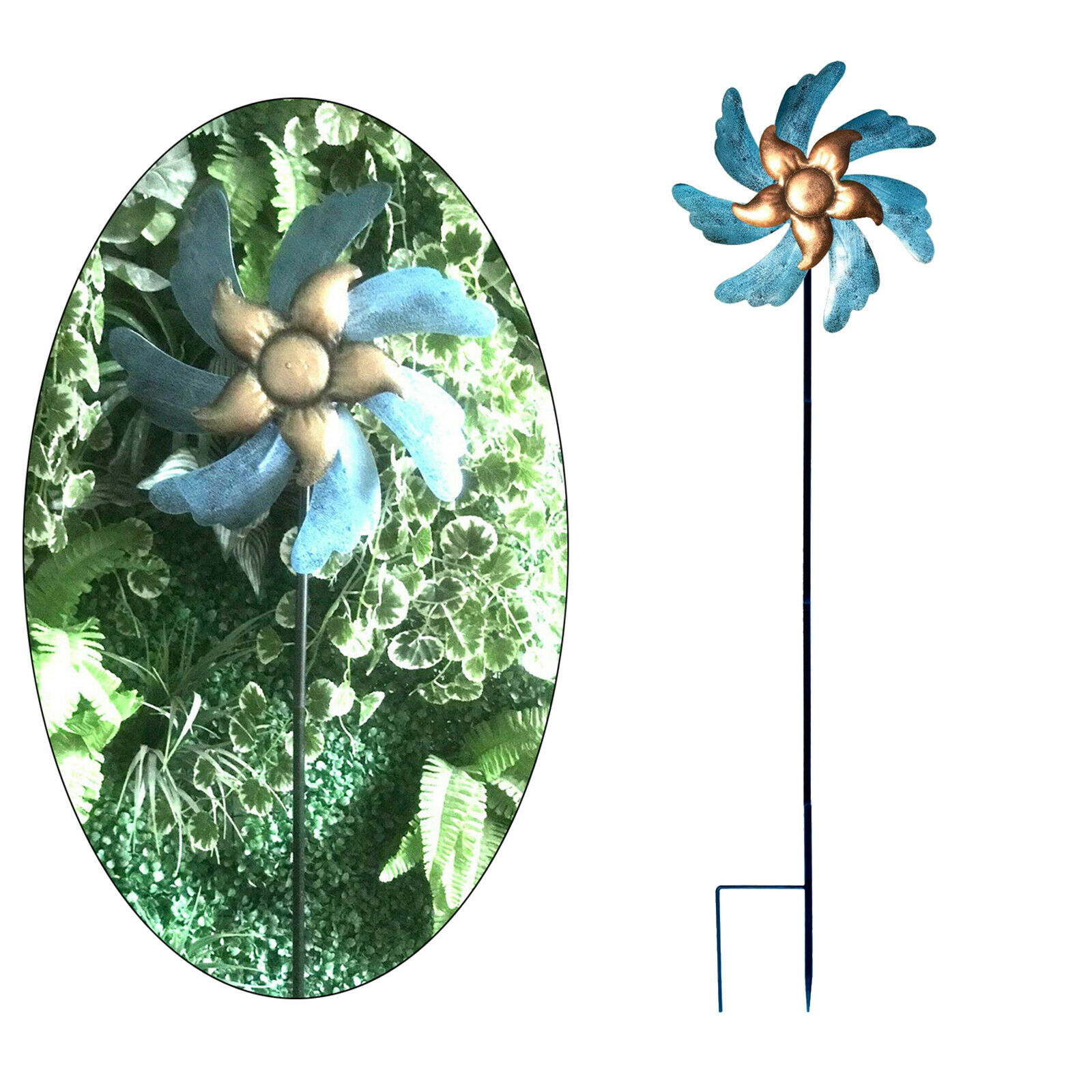 Iron Windmill Outdoor Garden Patio Stake Decor Relax Your Mood