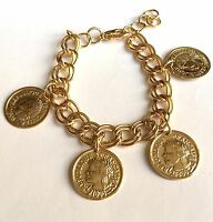 Gold Plated French Coin Charm Bracelet Coins Vintage Style 7-8 Inch Usa Seller