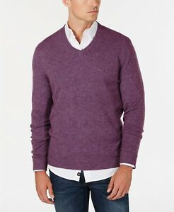 Club-Room-Men-039-s-Amethyst-Purple-Heather-100-Cashmere-V-Neck-Pullover-Sweater
