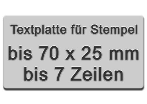 Textplatte für Stempel bis 7 Zeilen 70 x 25mm Trodat Colop oder Holzgriffe