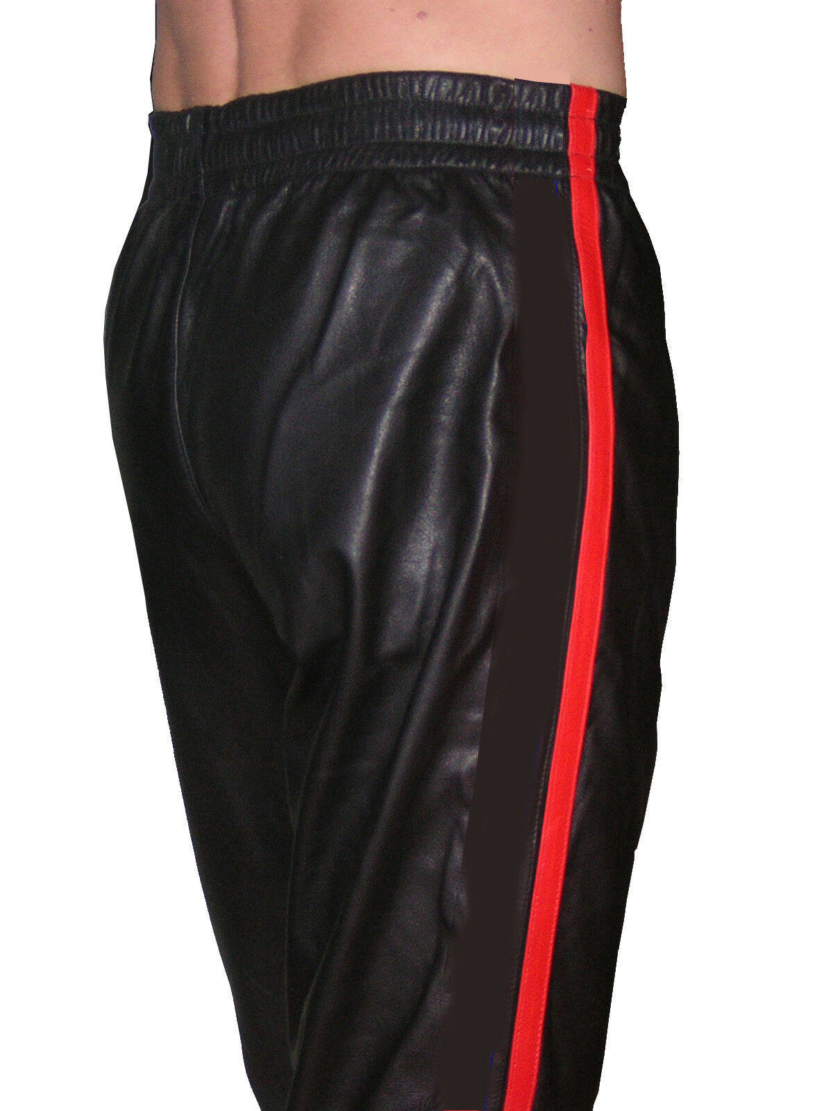 Sporthose schwarz rot Hose Leder Jogginghose neu casual sport leather pants