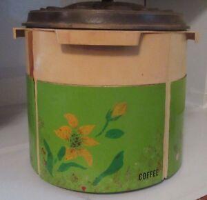 Vintage Flour Sugar Tea Coffee Lazy Susan Metal Plastic Flowers Canister Set Ebay