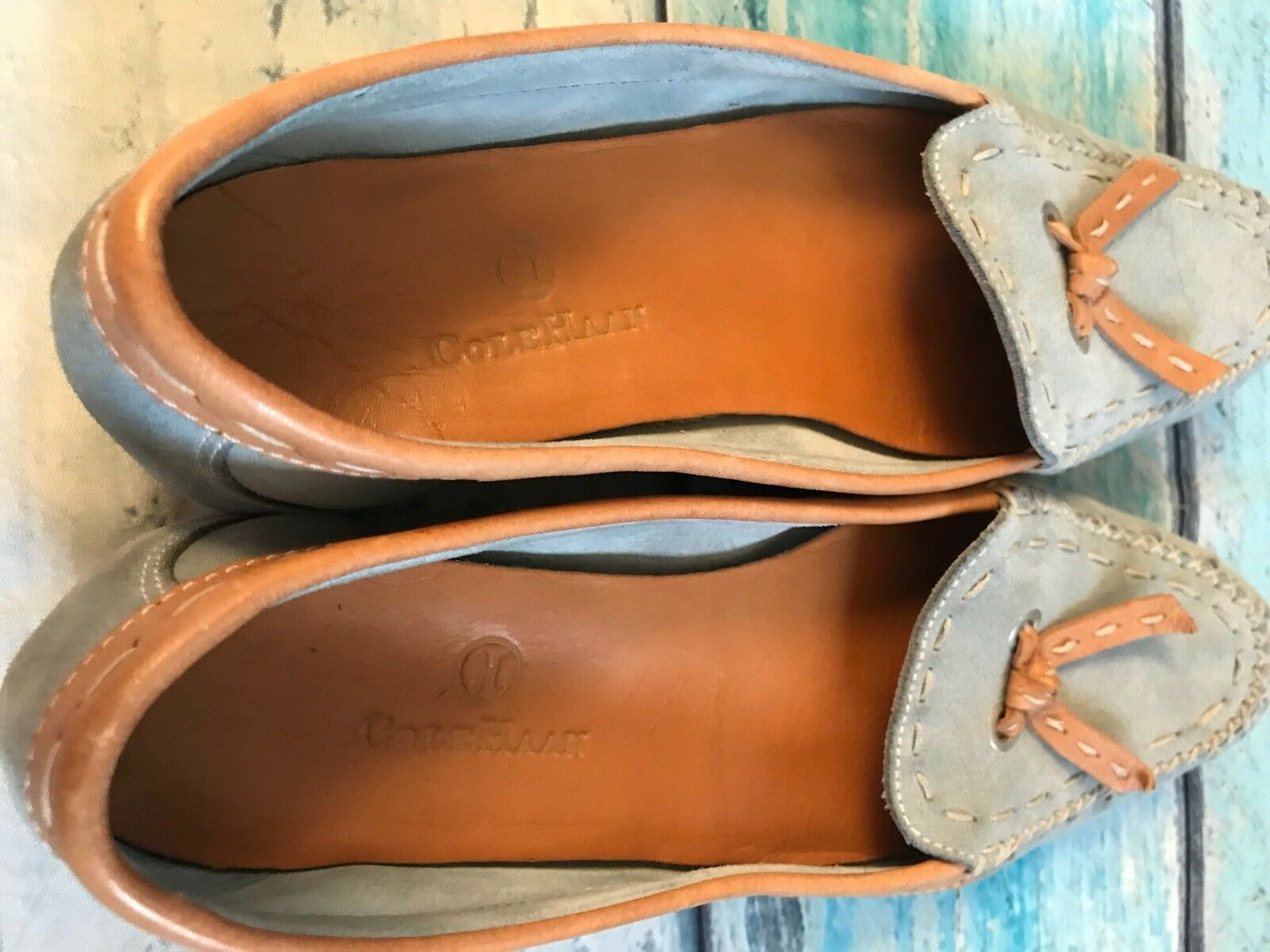 Cole Para Haan 6 B Para Cole Mujer Zapatos Mocasines Cuero Gamuza Azul Mocassins c27561