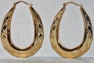 Image Is Loading 9ct Gold Las Diamond Cut Creole Hoop Large