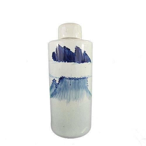 blu Ceramic Hand Painted Bottle With Lid Ⅲ