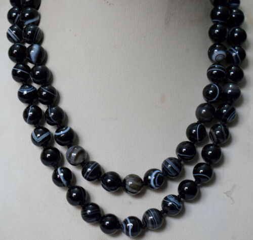 24-48 icnh 10mm Nature Black Stripe Agate Gemstone necklace AAA