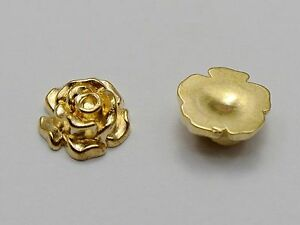 100-Gold-Tone-Metallic-Acrylic-Flatback-Flower-Stud-10mm-No-Hole-Cell-Phone-Deco