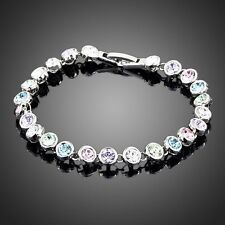 Sparkly Swarovski Element Crystal Round Multi Colour Tennis Bracelet Women Gift