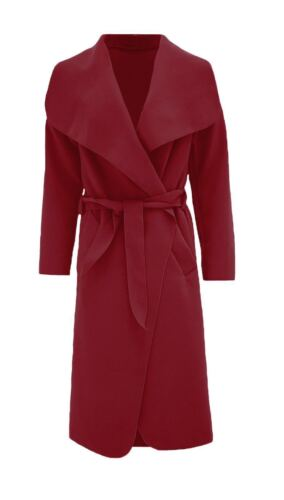 Newladies ITALIANO BELTED Celeb Stile Waterfall Maniche Lunghe Cappotto Onesize FIT 8-14