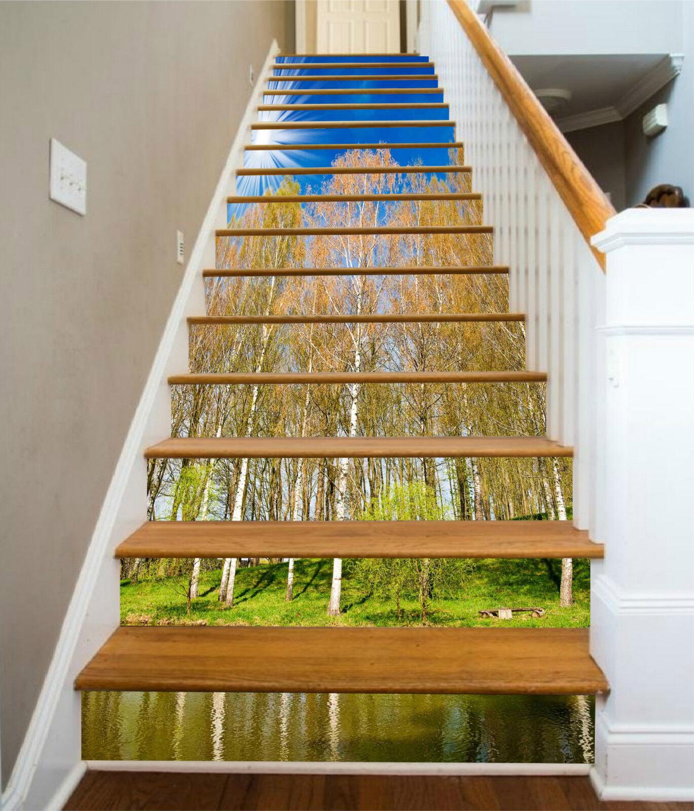 3D Wald Fluss 326 Stair Risers Dekoration Fototapete Vinyl Aufkleber Tapete DE