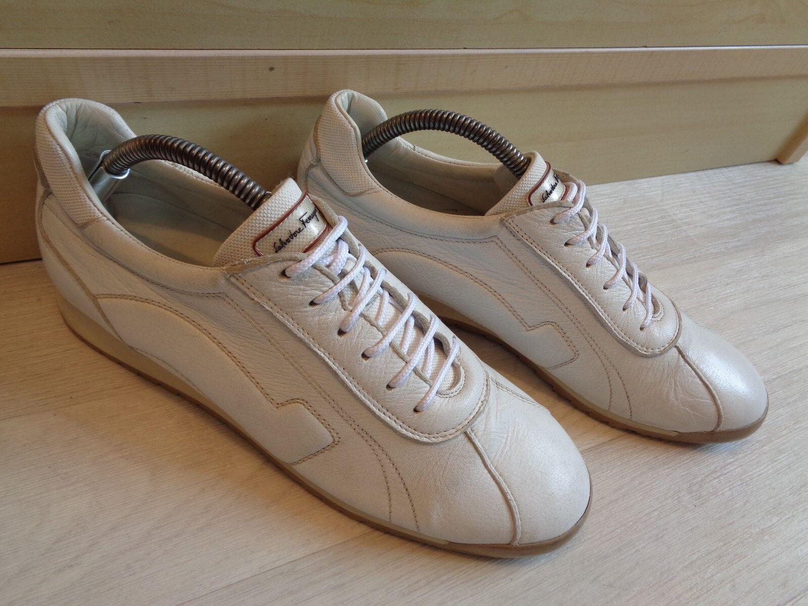 Salvatore Ferragamo Weiß Leder trainers UK 7 Turnschuhe 41 Damenss laced Italian Turnschuhe 7 b01ca7