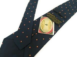 GUCCI-Tie-NWT-Vintage-Accessory-Collection-Navy-Blue-Jacquard-Geometric-Necktie