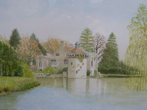 WATERCOLOUR-SCOTNEY-CASTLE-ARTIST-DAVID-F-KNIGHT-FREE-SHIPPING-TO-ENGLAND