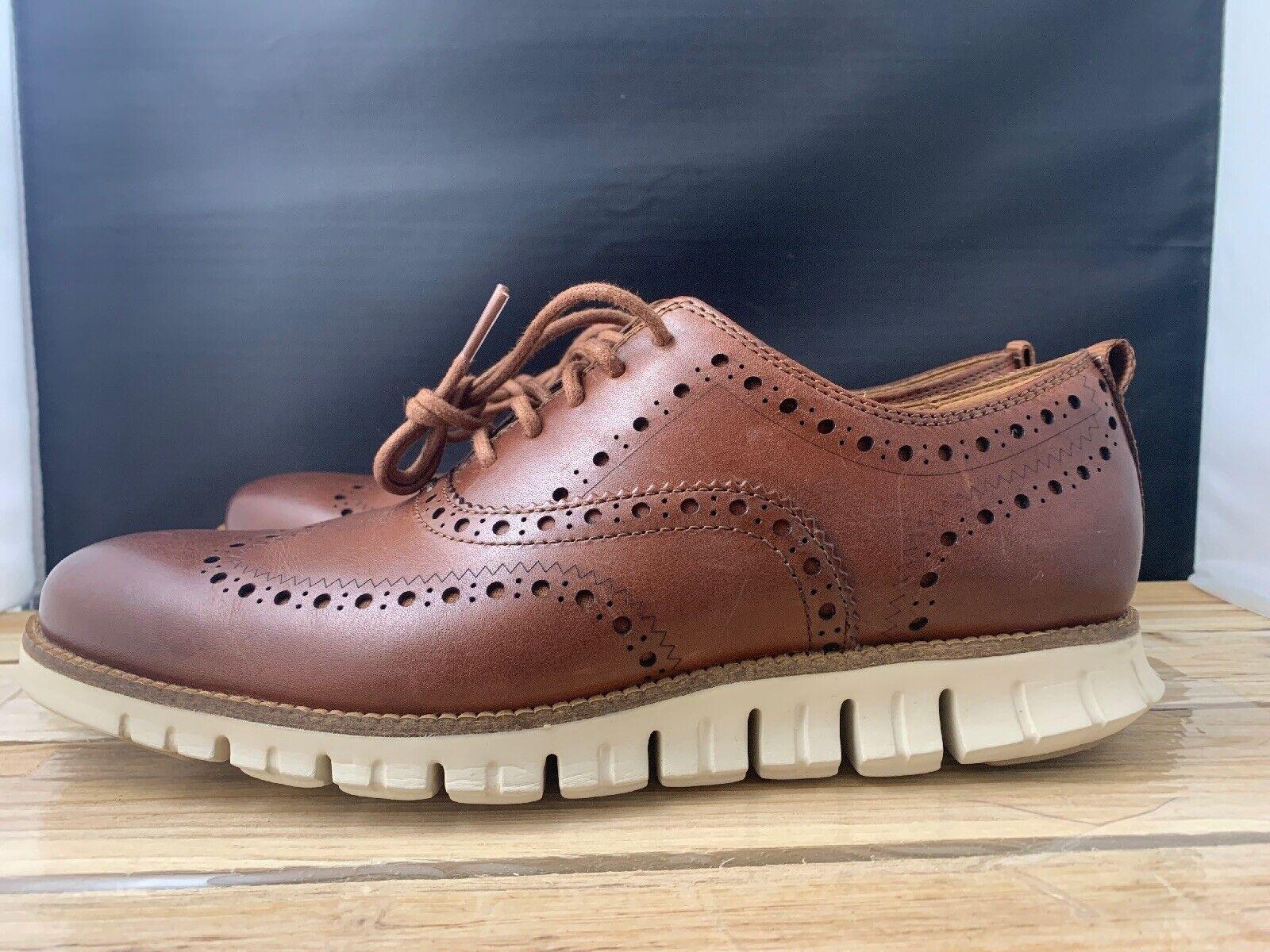 Cole Haan ZEROGRAND Wingtip Oxford Ivory Tan Brown Dress shoes C23741 SZ 8.5