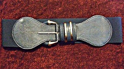 * Vintage 80s Stile Classico & Chic In Finta Pelle Con Fibbia Elastica Cintura Da Temt-