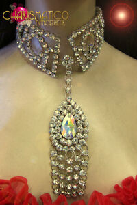 Mirror accented Silver beaded Stunning green glitter butterfly showgirl Necklace