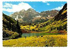 Maroon Bells Peaks Postcard Colorado Aspen Rockies Vintage Unposted