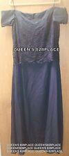 Chadwicks Women's Size 16W Navy Blue Lace Off Shoulder Dress Formal Gown EEUC