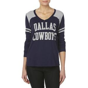 6df9d4ae Dallas Cowboys NFL Women's V-Neck Blue Felt Logo Long Sleeve Shirt ...