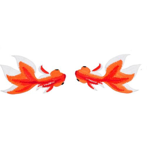 1Set Mix Aufnäher Applikation Patchwork Aufbügler Selbstklebend Goldfisch