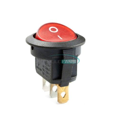20Pcs Mini 3 Pin Round Red SPDT Snap-in 6A//250V 10A//125V ON-OFF Rocker Switch