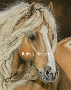 034-Palomino-Gypsy-034-Vanner-Horse-Art-Print-5x7-Giclee-Image-By-Artist-Roby-Baer-PSA
