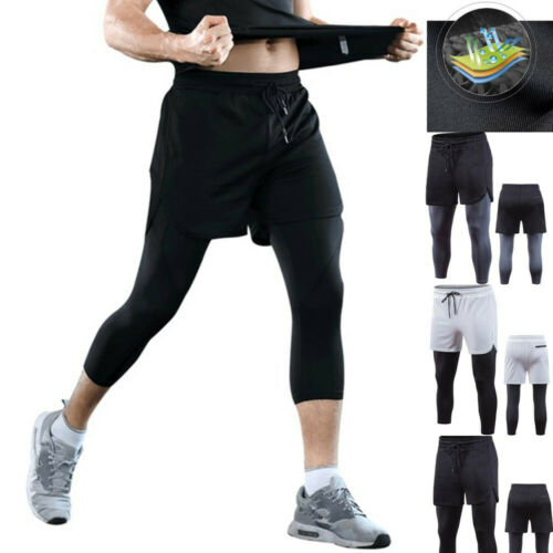 Men Compression Pants Running Sports Cropped Trousers Basketball Tight Leggings