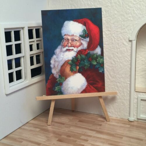 Miniature Dollhouse Shadow Box Art Christmas Santa Mrs Claus Portraits Handmade