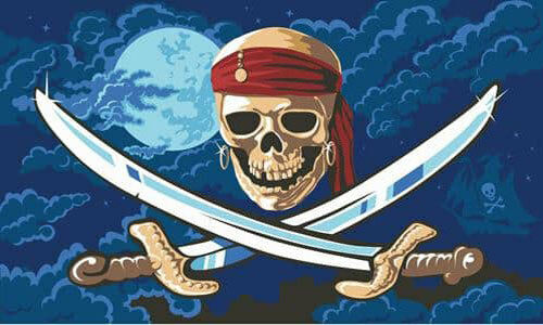 PIRATE in the MOONLIGHT FLAG 5/' x 3/' Skull Red Bandana Caribbean Pirates Party
